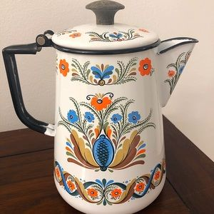 Lovely vintage & colorful enamelware teapot